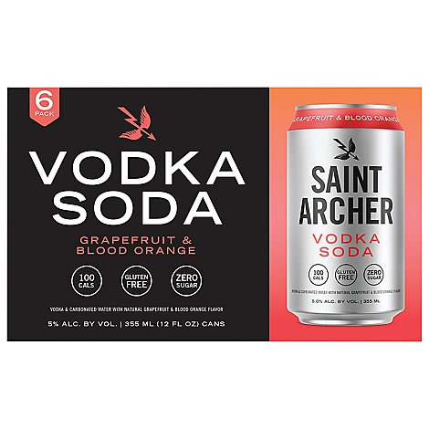 Saint Archer Vodka Soda Blood Orange Grapefruit In Cans - 6-12 FZ