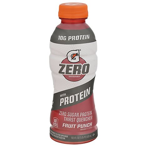 Gatorade Zero Zero Sugar Protein Thrist Quencher Fruit Punch Natural Flavor - 16.9 OZ