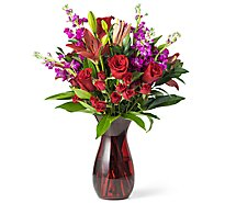 Grand Mixed Valentine Arrangement With Vase - Each (flower colors and vase will vary)