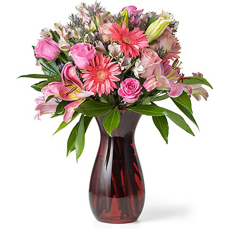 Petite Mixed Valentine Arrangement With Vase - Each (flower colors and vase will vary)