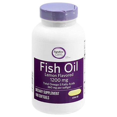 Signature Care Fish Oil 1200mg Lemon Flavor Softgel - 180 CT