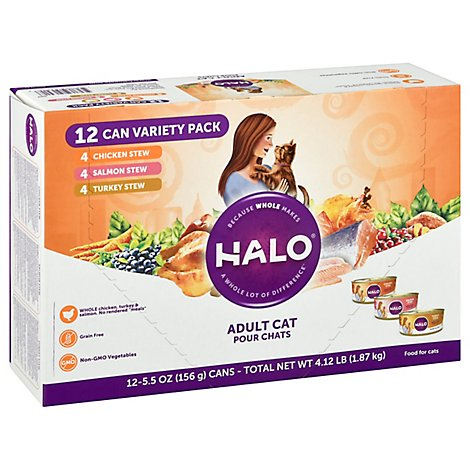 Halo Grain Free Chicken Salmon Turkey Cat Food Variety Pack - 12-5.5 OZ