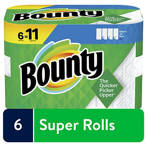 Bounty Paper Towel 2 Ply Select A Size 6 Roll White - 6 RL