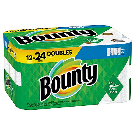 Bounty Paper Towel 2 Ply Select A Size 12 Roll White - 12 RL