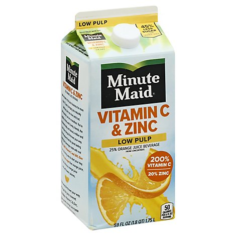 Minute Maid Vitamin C & Zinc Orange Low Pulp Nc Carton - 59 FZ