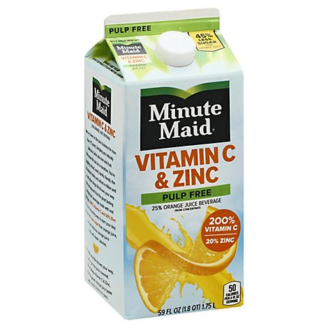 Minute Maid Vitamin C & Zinc Orange Pulp Free Nc Carton - 59 FZ