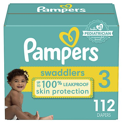Pampers Diapers Swaddlers Size 3 Giant - 112 Count