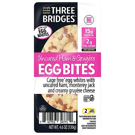 Three Bridges Ham & Gruyere Egg Bites Made With Egg Whites - 4 OZ