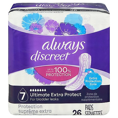 Always Discreet Extra Protection Pad - 26 CT