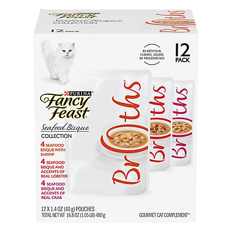 Purina Fancy Feast Broths Seafood Bisque Variety Pack - 12-1.4 OZ