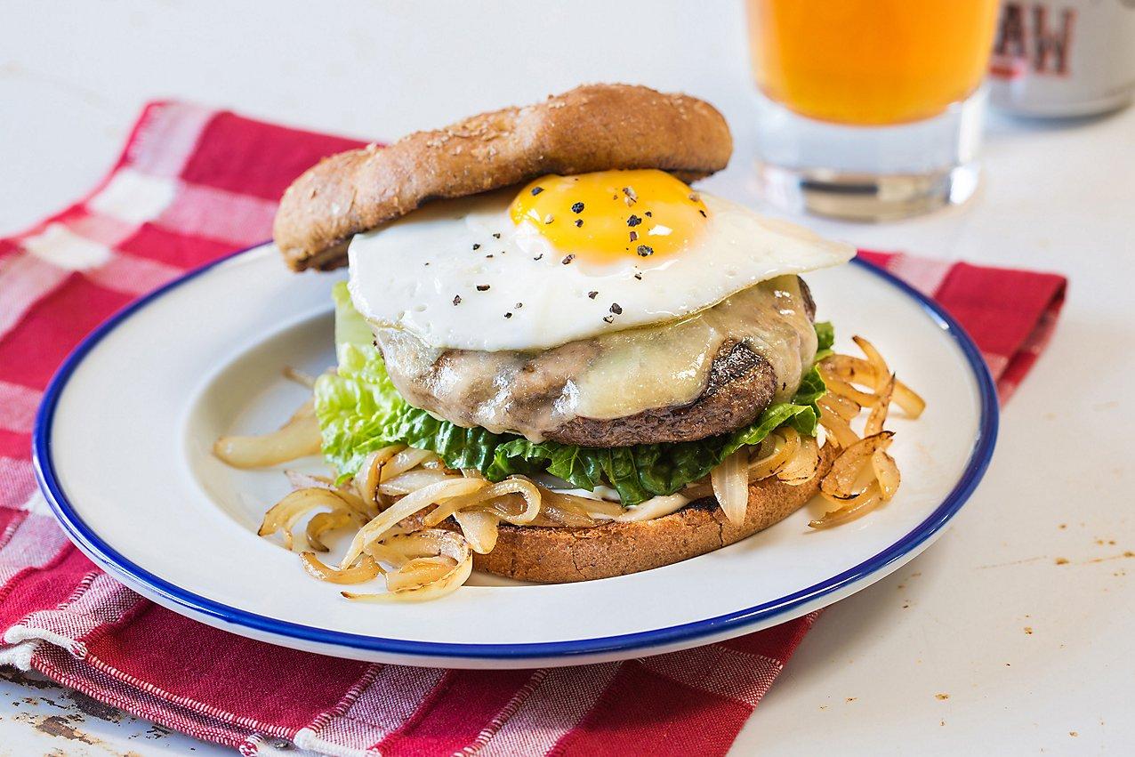 Egg Topped White Cheddar Burger