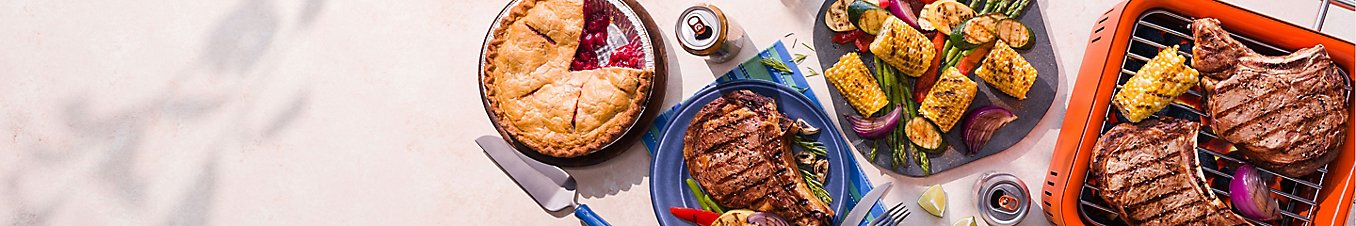 Pie, grilled meat, grilled corn, and grilled veggies