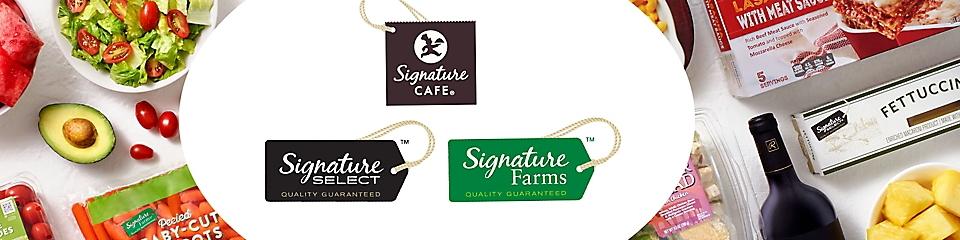 Signature Café, Signature Select, and Signature Farms products