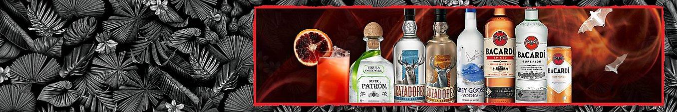 Bottles of spirits from Bacardi brands