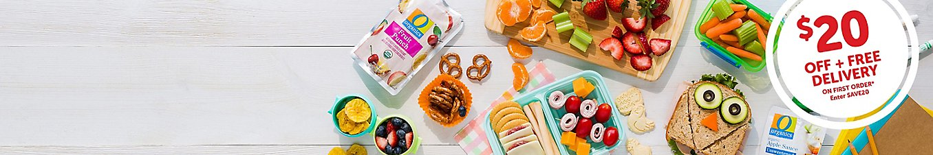 Back to school lunchbox with sandwiches and snacks