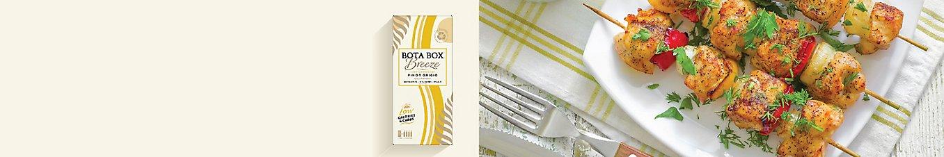 Herb chicken kabob paired with Bota box wine