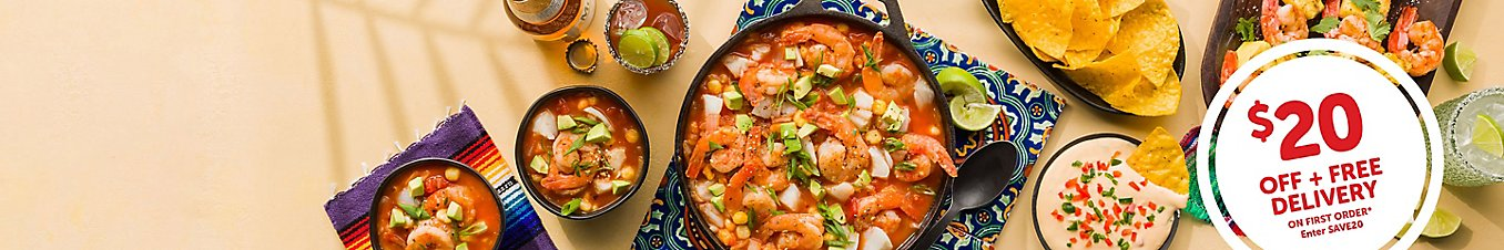 Fiesta Feasts with 20 dollars off and free delivery on your first order when you use promo code save20.