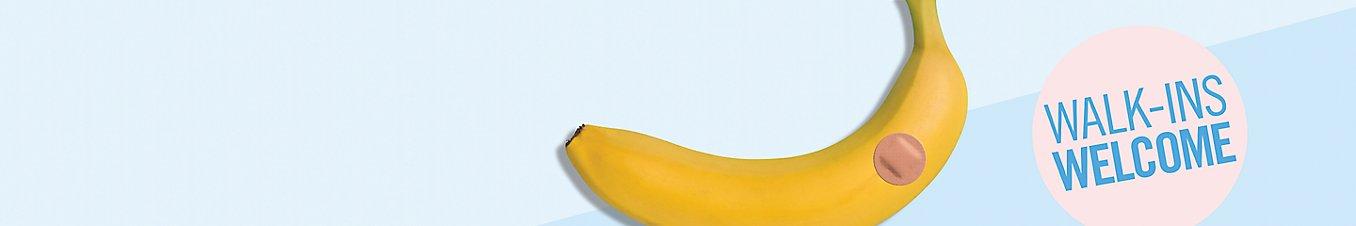 banana with band aid, walk-ins welcome