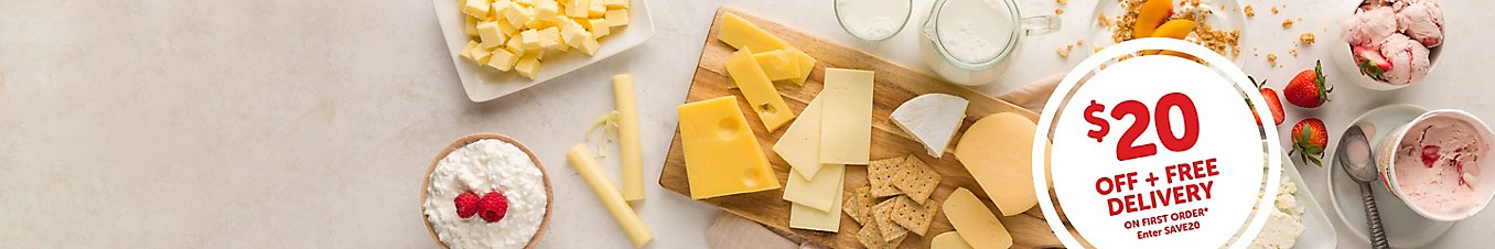 Dairy month celebration with 20 dollars off and free delivery on your first order when you use promo code save20