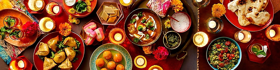 Celebrate Diwali with traditional foods and snacks.