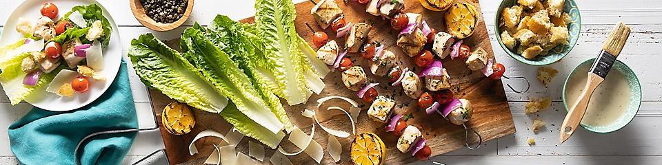 DIY Chicken Caesar Kabob Lettuce Wraps