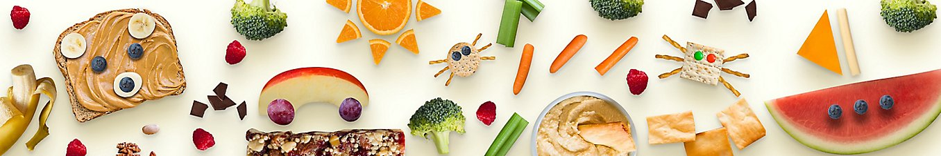 Snacking items, peanut butter on bread, bars, fruits, berries and vegitables bits