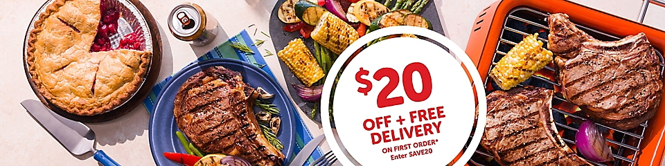 20 dollars off and free delivery on your first order when you use promo code save20.