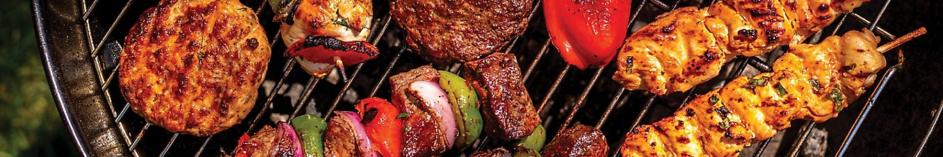 chicken kebabs, beef burgers and fresh produce