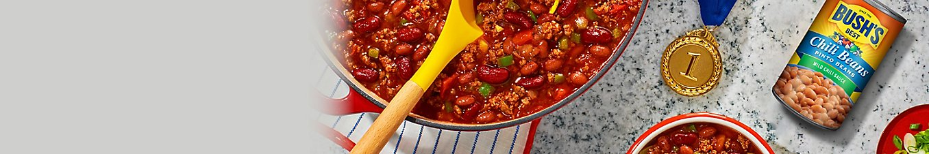 A bowl of chili made with Bush's® Chili Beans