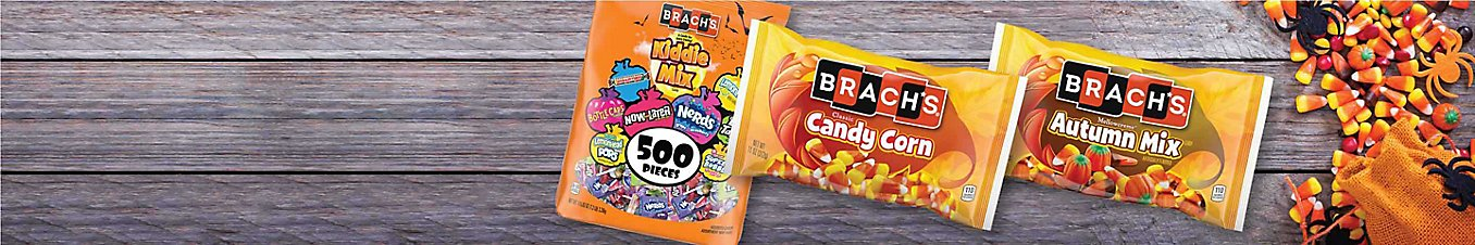 A bag of Brach's Kiddie Mix, Candy Corn, and Autumn Mix.