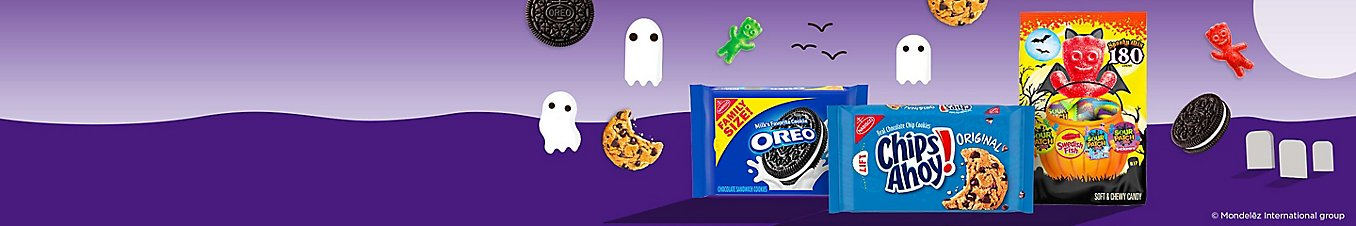 A pack of family size oreo, original Chips Ahoy, and Sour Patch spooky mix candies.