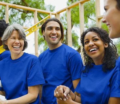 Group of happy employees, smiling
