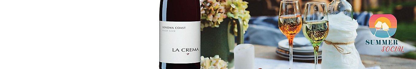Wine glasse and a bottle of Sonoma Coast La Crema Pinot Noir
