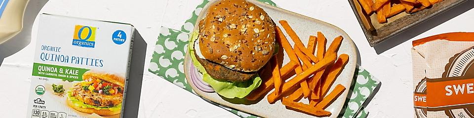 O Organics organic quinoa burger with sweet potato fries