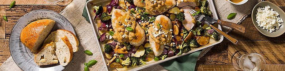 One pan hummus-crusted chicken and veggies