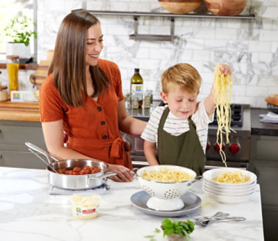 Cooking pasta with O Organics ingredients