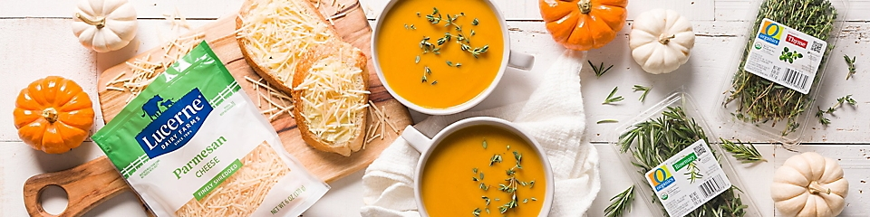 Pumpkin soup and cheese toasts made with O Organics herbs and Lucerne cheese.