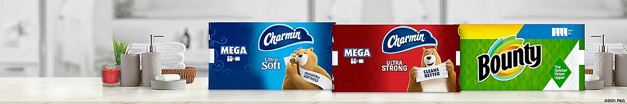 Select from Bounty 2-Ply Paper Towels, Charmin Soft Mega Rolls and Ultra Strong Mega Rolls.