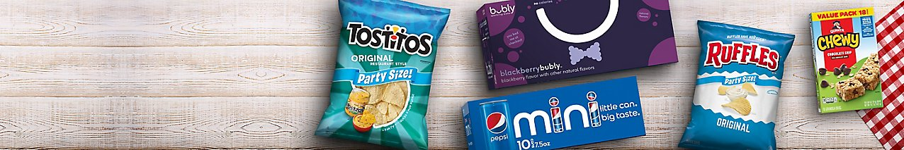 Choose from popular brands like Ruffles, Tostitos, Quaker Chewy Granola Bars, bubly and Pepsi.
