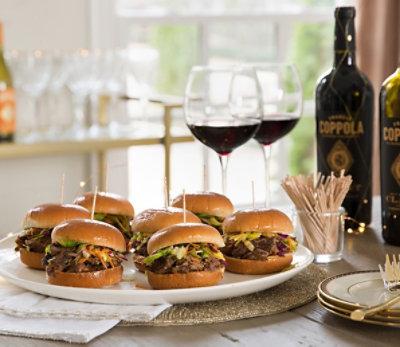 Beef Short Rib Sliders Paried with Diamond Collection Claret Wine Coppola Recipe