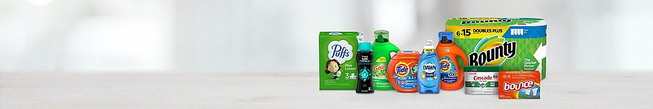 Choose from cleaning and household essentials like Dawn, Cascade, Bounty, Tide, Gain, Downy, Bounce and Puffs.