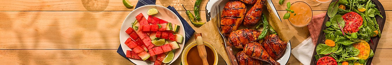 Grilled watermelon, grilled chicken, and a side of salad