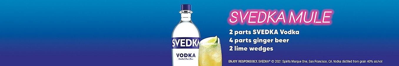 Enjoy Responsibly. SVEDKA 2021 Spirits Marque One, San Francisco, CA. Vodka distilled from grain 40% alc/vol